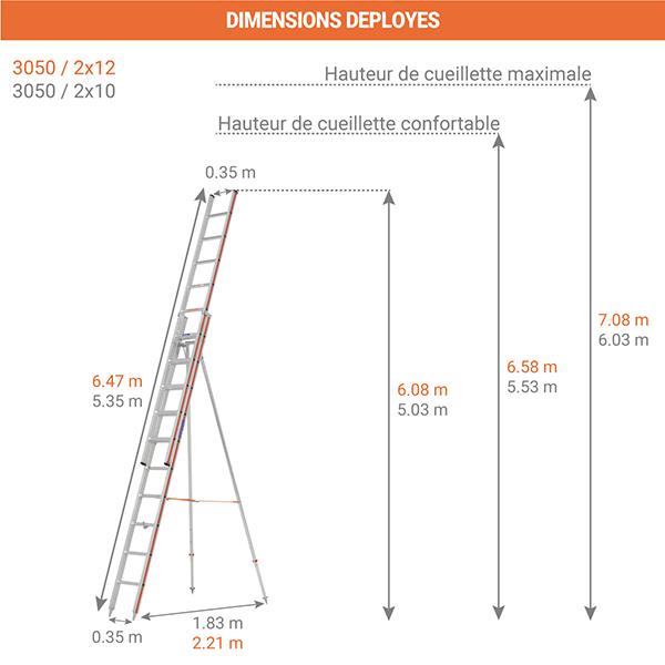 dimensions echelle fruitiere 3050