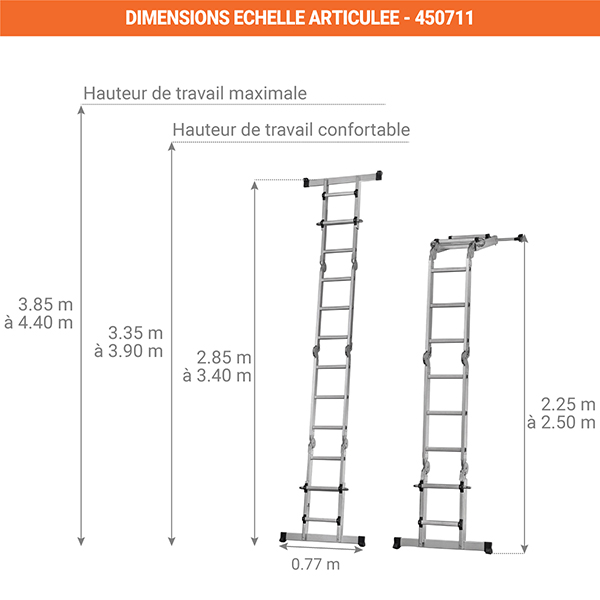 dimensions echelle multifonction solucio 450711