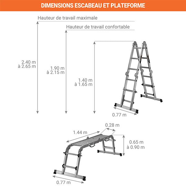 dimensions echelle multifonction verticale 450711
