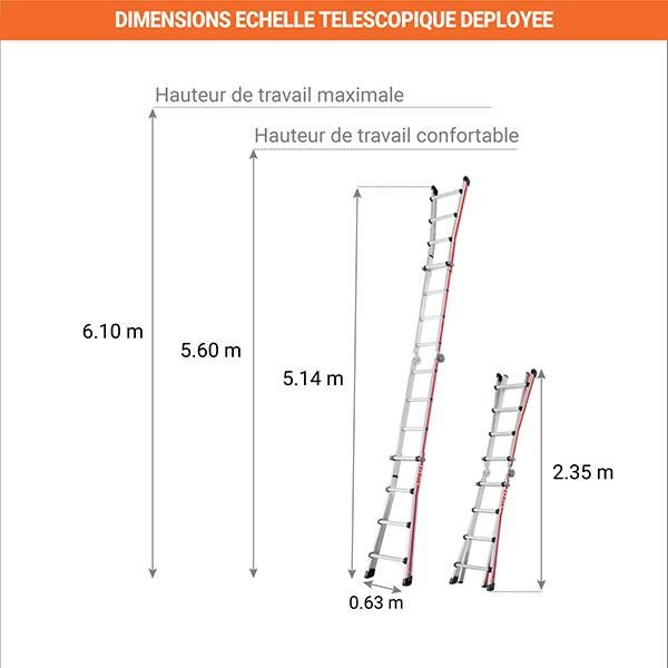 dimensions echelle telescopique deployee 8042