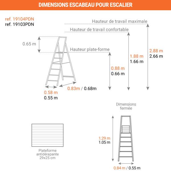 dimensions escabeau PDN