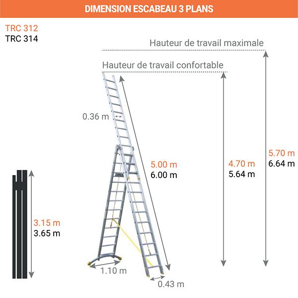 dimensions escabeau transformable 3 plans TRC