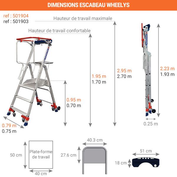 dimensions escabeau wheelys