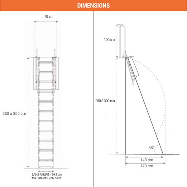 dimensions escalier pliant PALCO P