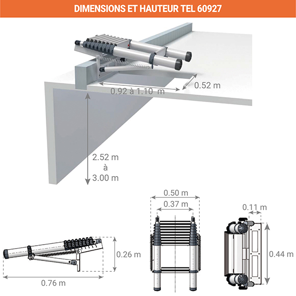 dimensions plie echelleTEL 60927