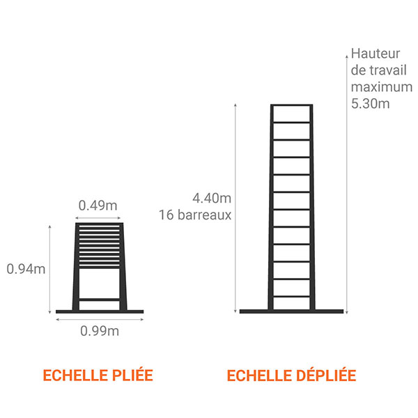 echelle telescopique dimensions 440