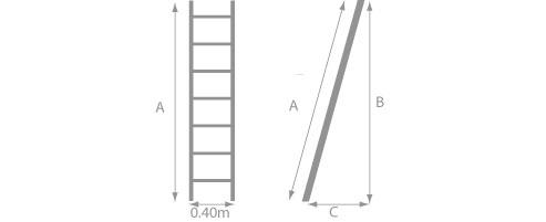 Schéma de l'échelle en bois