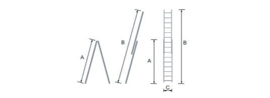 schema de l'échelle bois coulissante