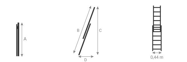 Schéma de l'échelle de pomper coulissante à corde 2 plans