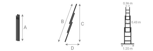 schema de l'echelle coulissante 3 plans