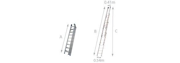 schema de l'échelle coulisssante 4 plans