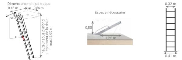 schema de l'echelle escamotable 2 plans