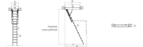 schema de l'echelle escamotable acier