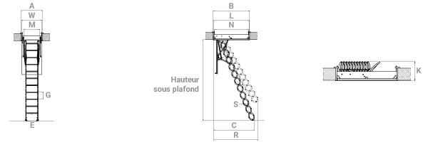 schema d'echelle escamotable ciseau