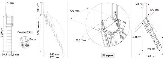 Schéma de l'échelle escamotable Palco