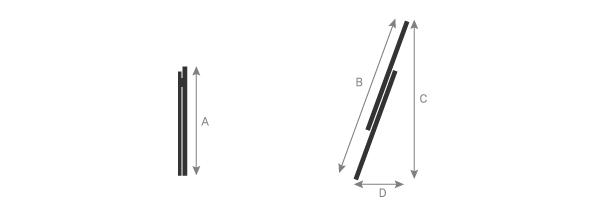 Schéma de l'échelle isolante coulissante à main 2 plans