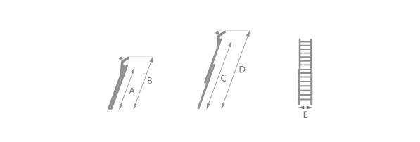 Schéma de l'échelle de pomper coulissante à main 2 plans