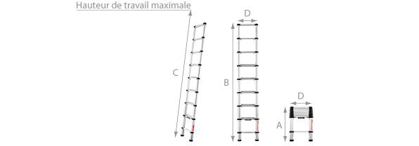 Schéma de l'échelle télescopique en aluminium 2.60 mètres