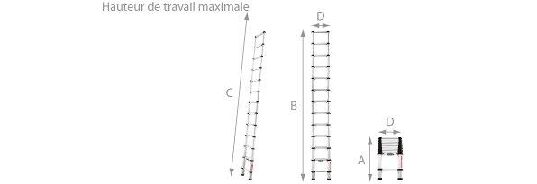 Schéma de l'échelle télescopique en aluminium 3.80 mètres