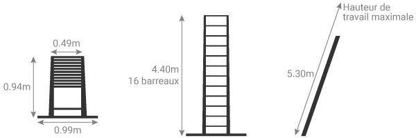 Schéma de l'échelle télescopique 4.40m