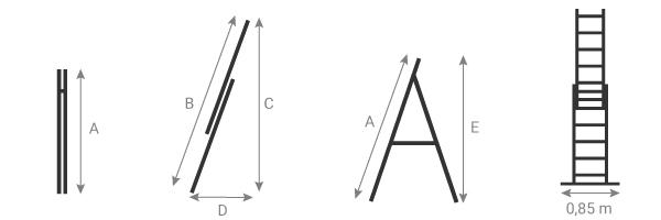 Schéma de l'échelle isolante transformable 2 plans