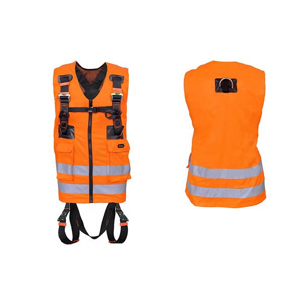harnais antichute securite avec gilet orange 2 points