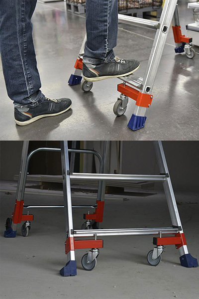 Escabeau Wheelys en appui sur les patins