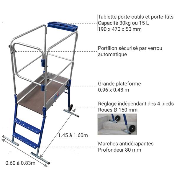details plateforme gazelle 40041 escalier