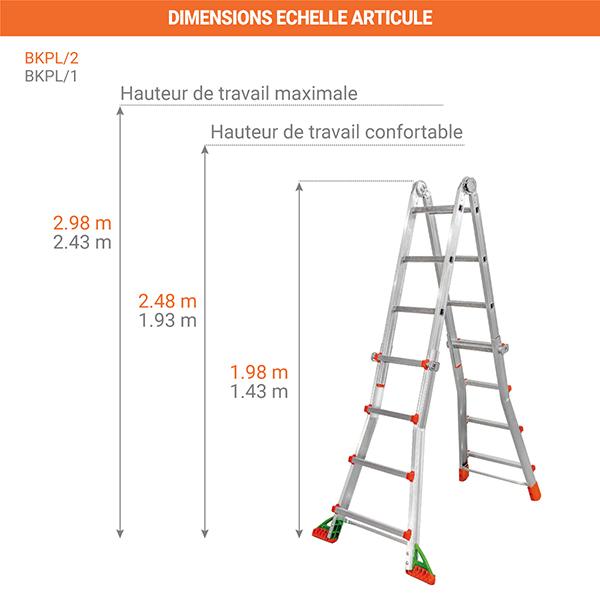 dimensions echelle articule verticale BKPL