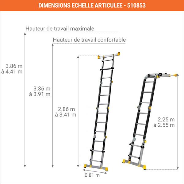 dimensions echelle telescopique deployee 450711