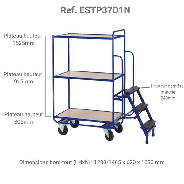 dimensions escabeau chariot 3 plateaux