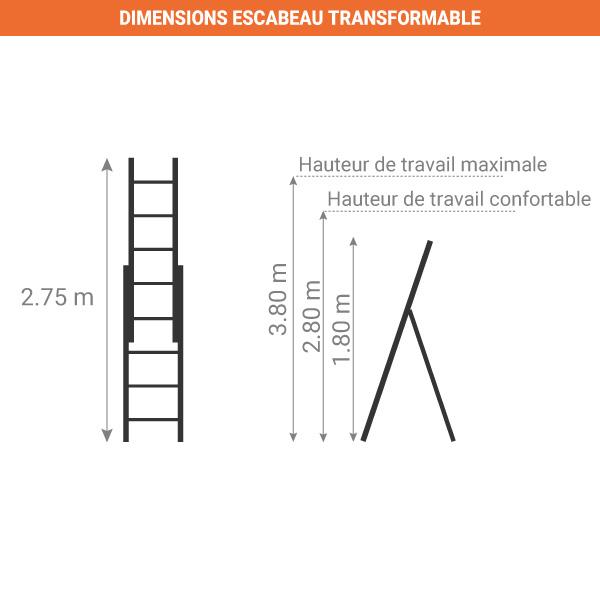 dimensions escabeau transformable pour escalier