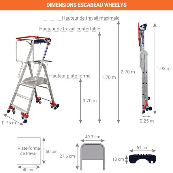 dimensions escabeau wheelys 3 marches