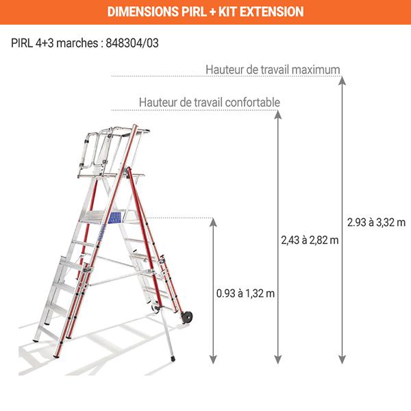 dimensions pirl telescopique 4 marches