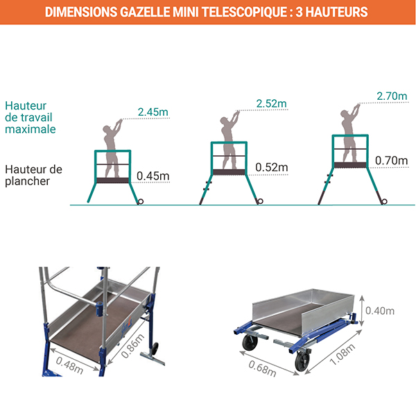 dimensions plateforme gazelle mini 40052