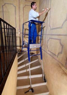 Escabeau pour escalier avec r glage ind pendant des 4 pieds - Echelle pour escalier tournant ...
