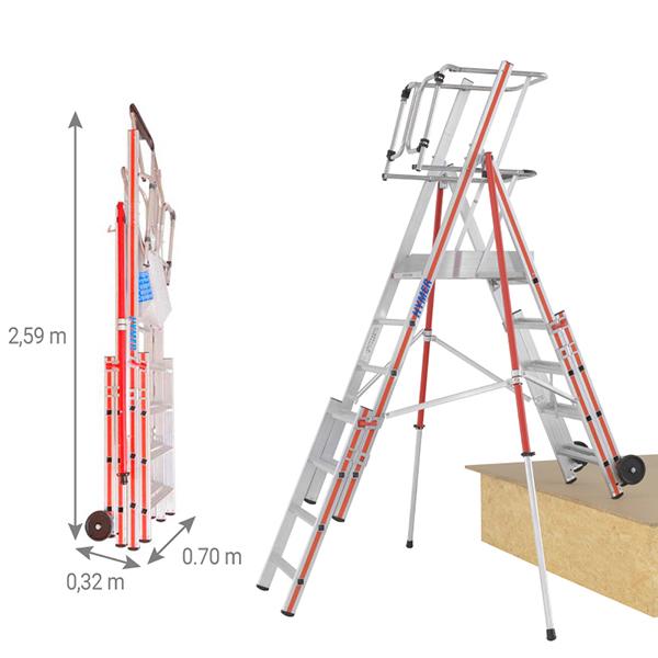 escabeau pirl 8483 5 plie dimensions