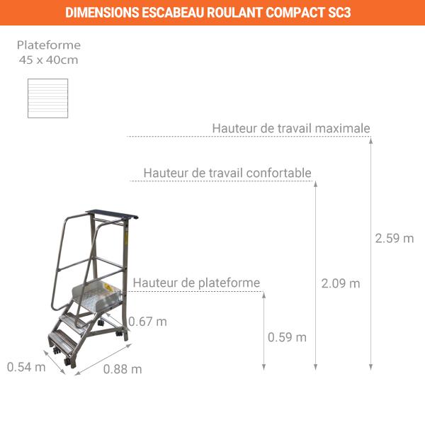 schema escabeau roulant compact SC3