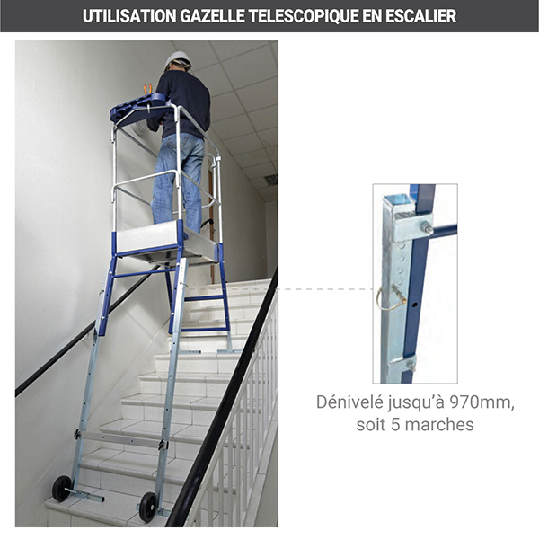utilisations plateforme gazelle 40041 escalier
