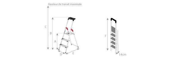 Schéma de l'escabeau aluminium Profistep XXL