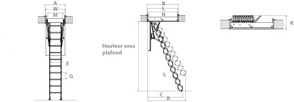 schema de l'escalier escamotable accordéon