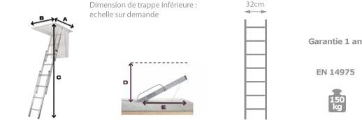 schema escalier escamotable grenier