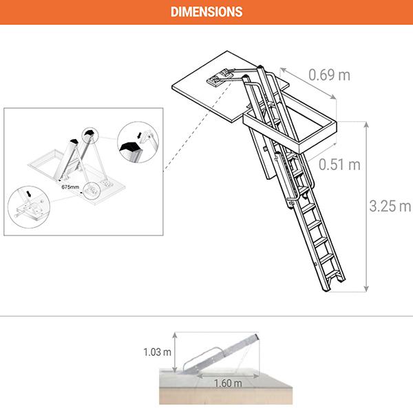 dimensions echelle escamotable 306340