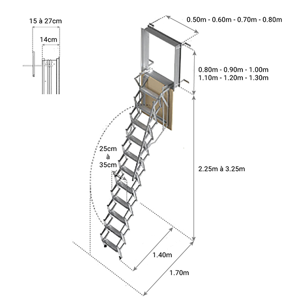 dimensions echelle escamotable adjm