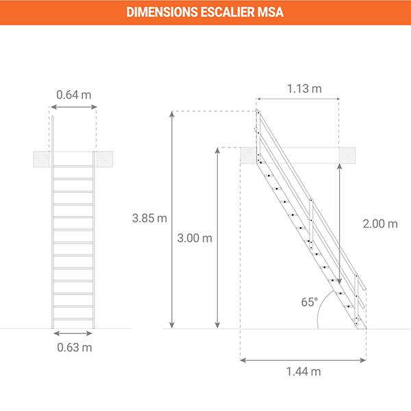 dimensions escalier MSA