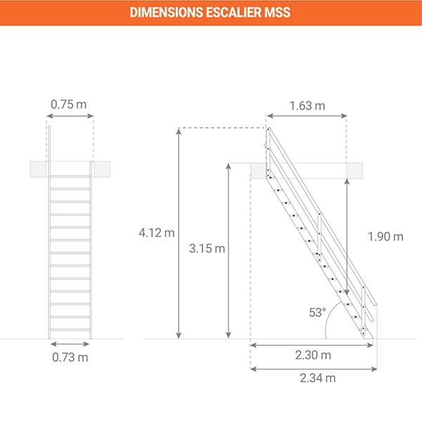dimensions escalier MSS
