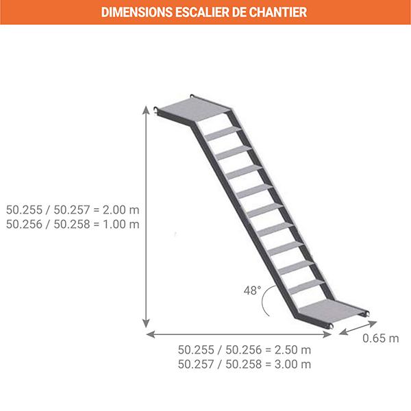 dimensions escalier chantier 50 25