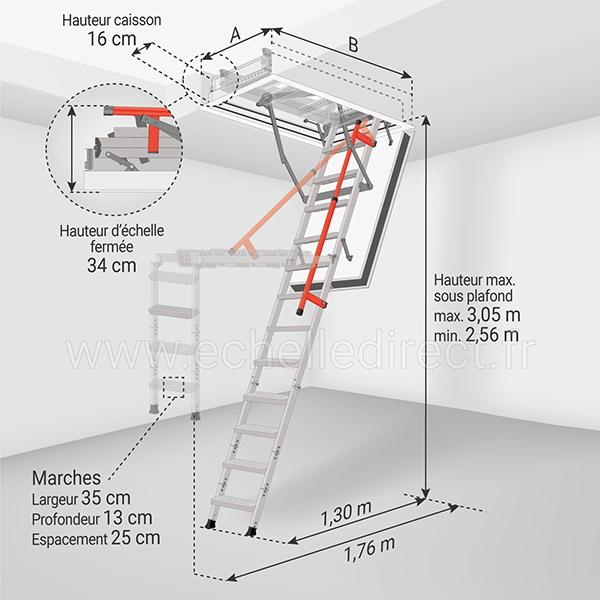 dimensions escalier escamotable LMF120 305