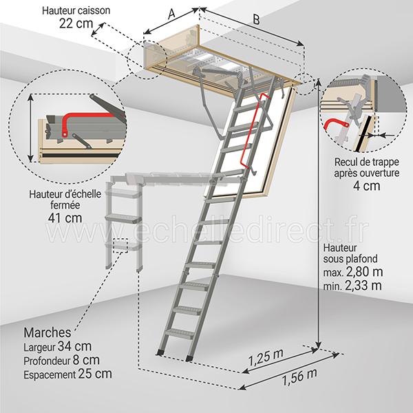 dimensions escalier escamotable LMF45 280