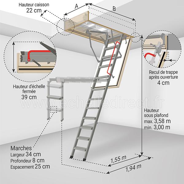 dimensions escalier escamotable LMF45 358